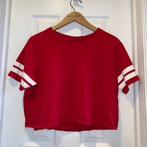Medium Red H&M Crop Top w/ White Stripes on Sleeve